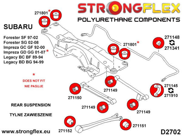 271148A: Rear anti roll bar bush SPORT
