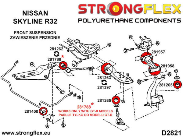 281263A: Front inner track control arm bush 34mm SPORT