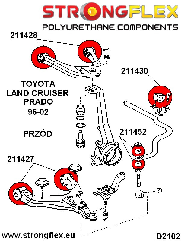 216123A: Front suspension bush kit SPORT