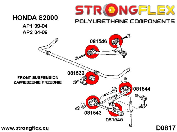 086150B: Front suspension bush kit AP1 AP2