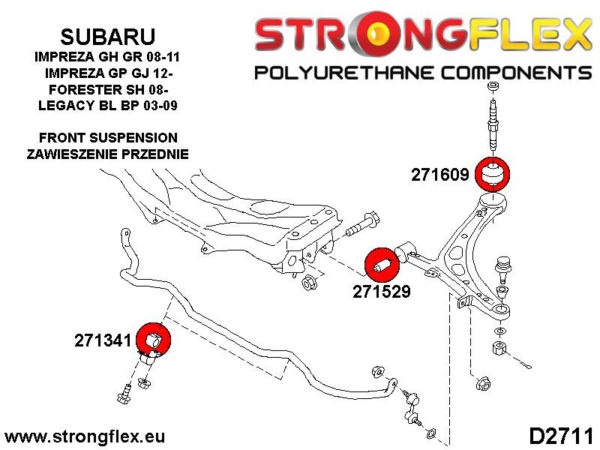 276164B: Front suspension polyurethane bush kit