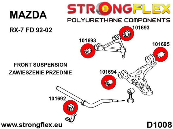 106182A: Front suspension bush kit SPORT